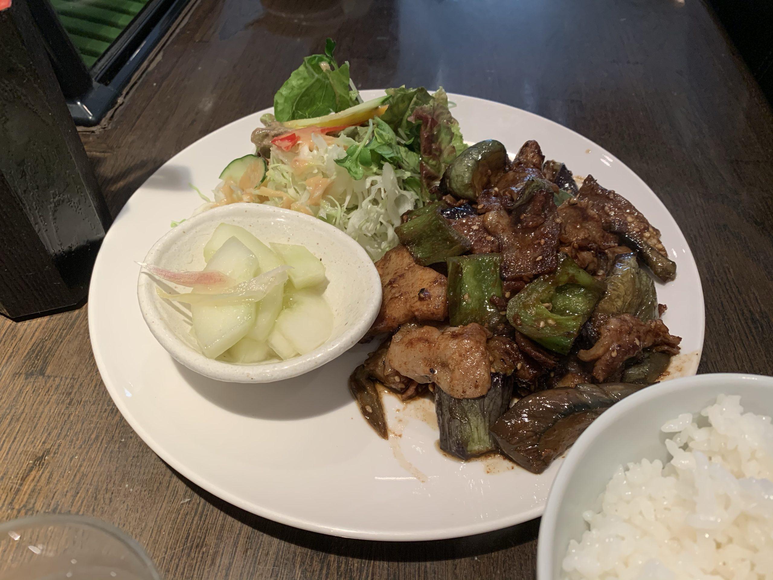 串焼京楽の豚となすの味噌炒め