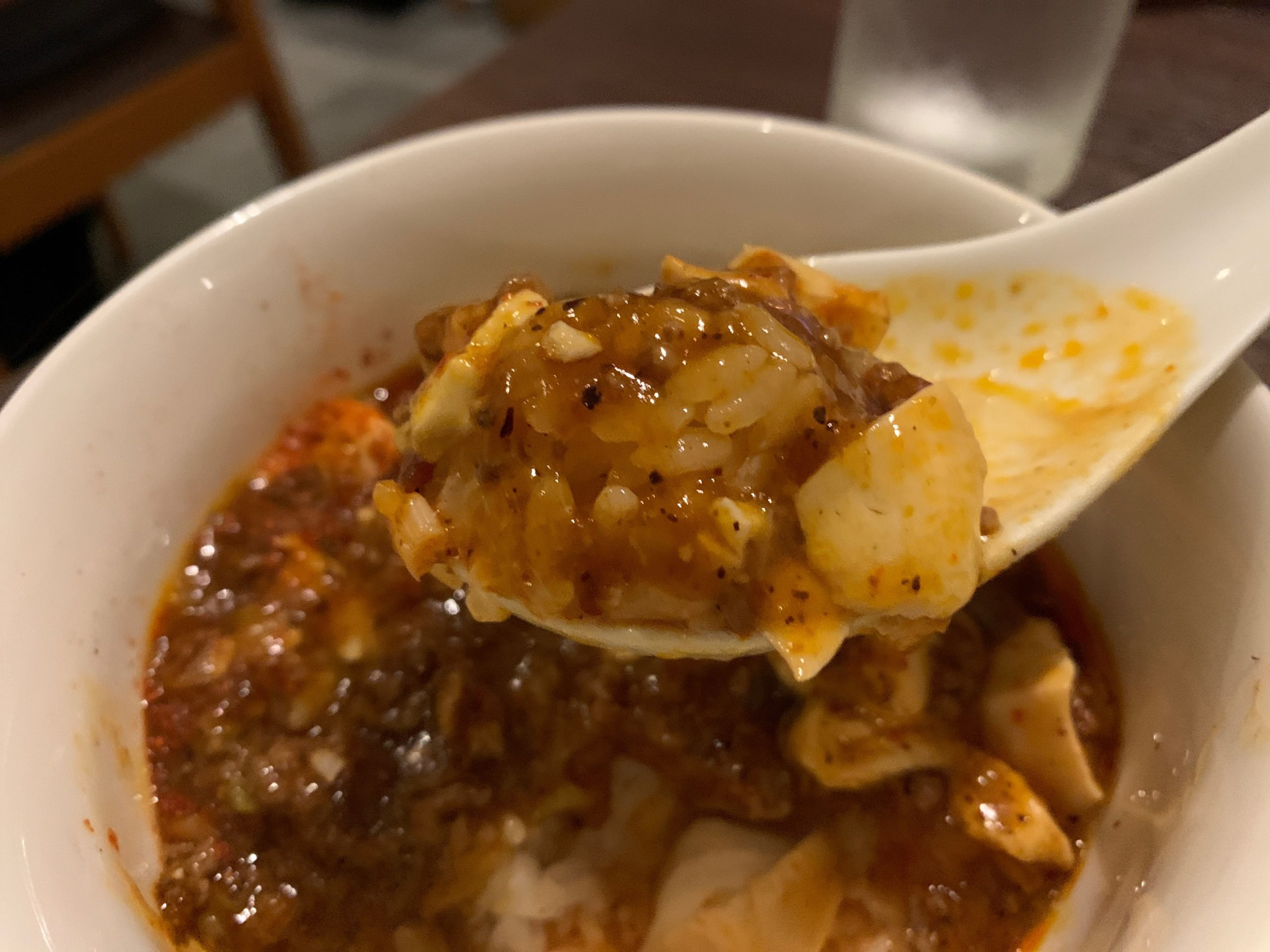 真心(shinshin)の麻婆豆腐の一口
