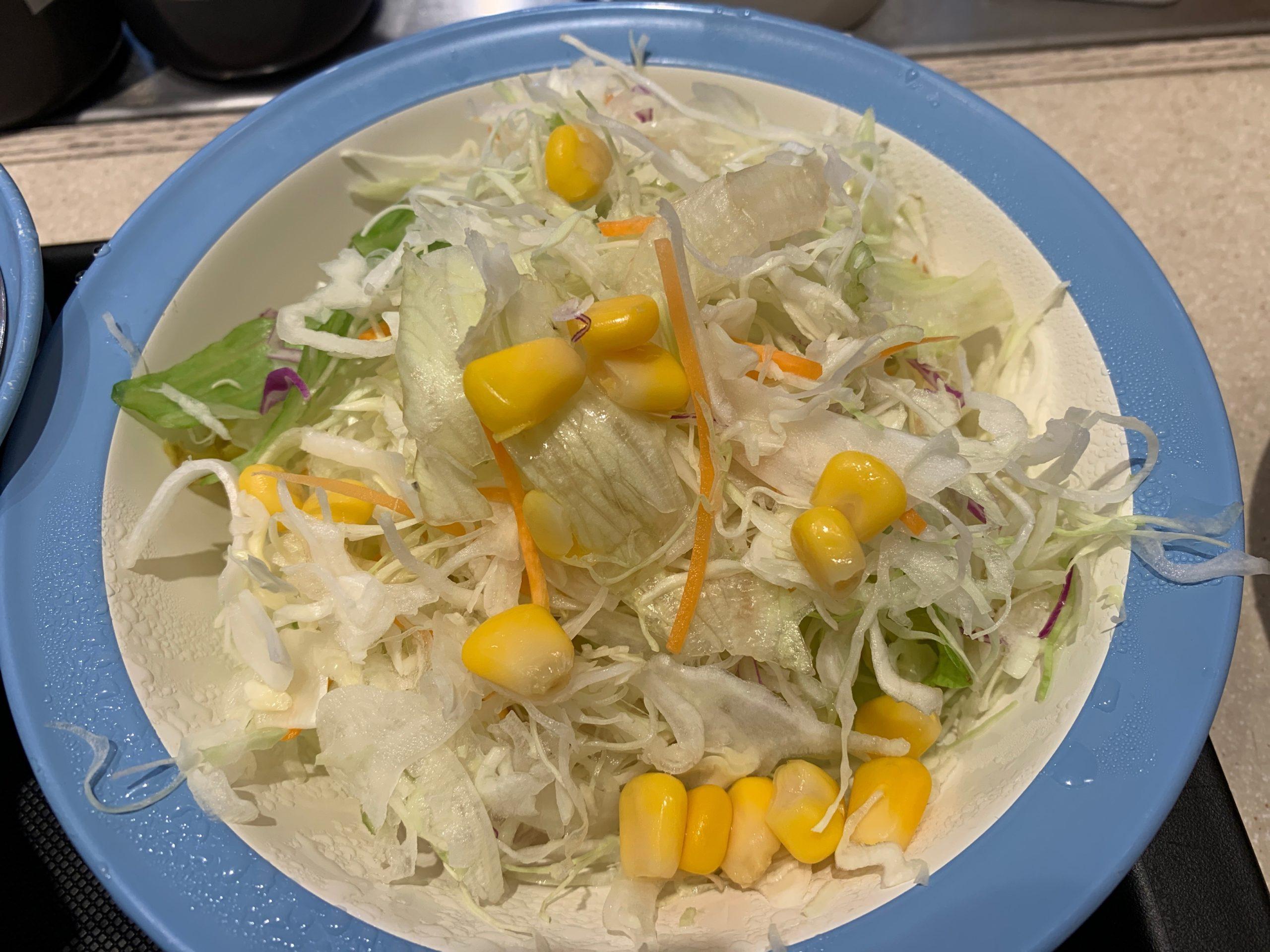 松屋山形だし三色丼のセットの野菜