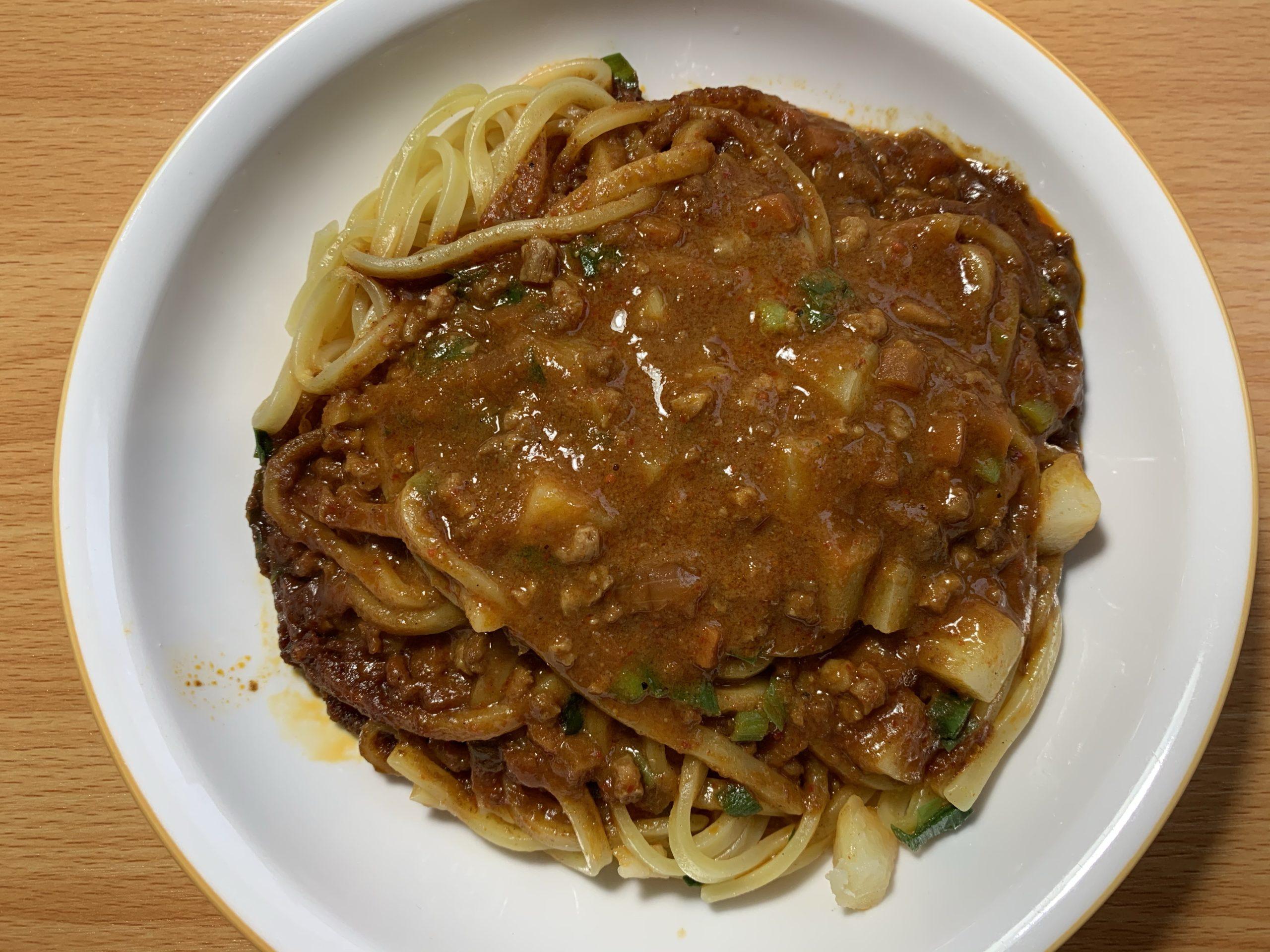 蒙古タンメン中本汁なし誠炸羅(マサラ)麺の完成