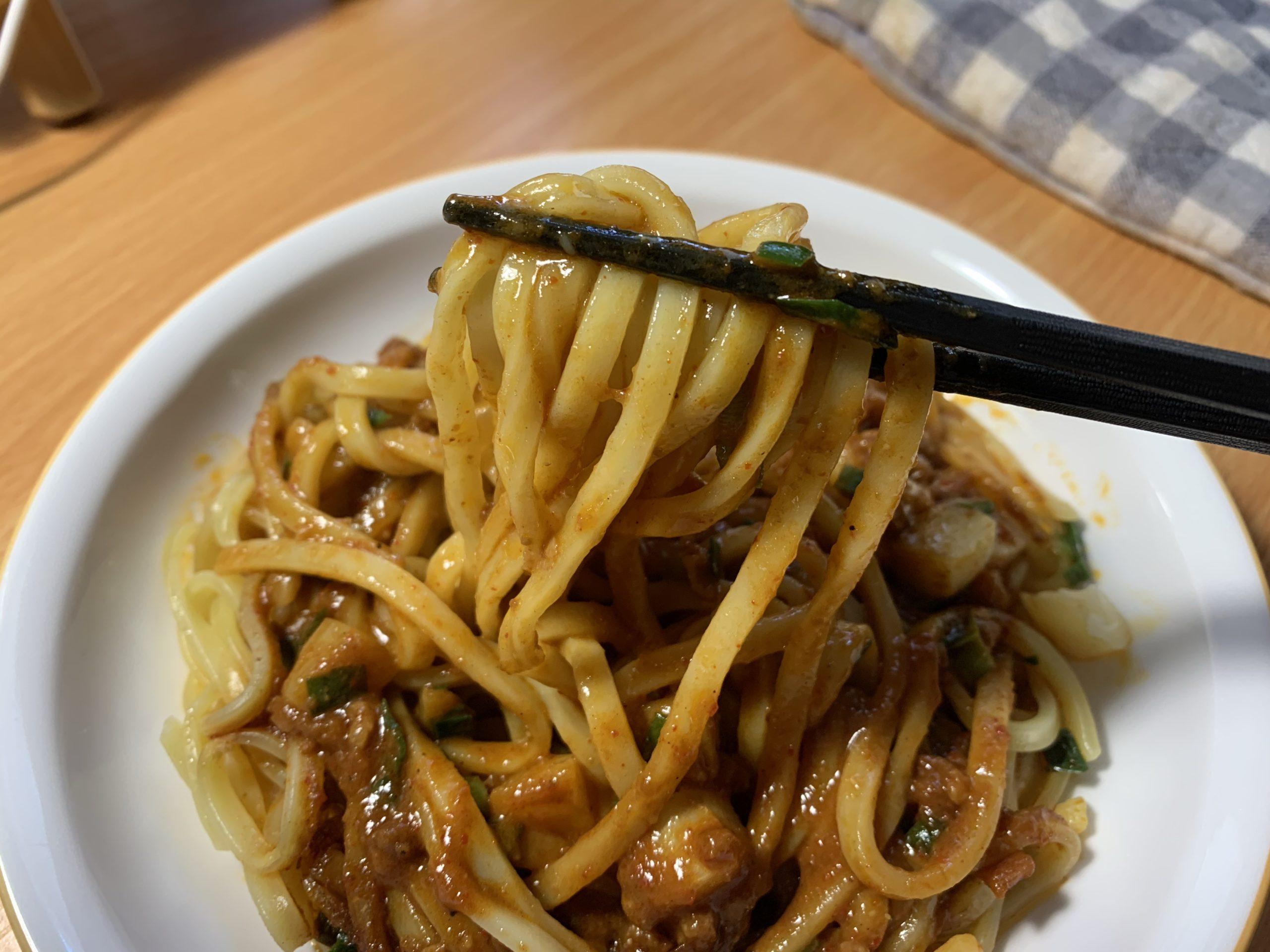 蒙古タンメン中本汁なし誠炸羅(マサラ)麺の麺