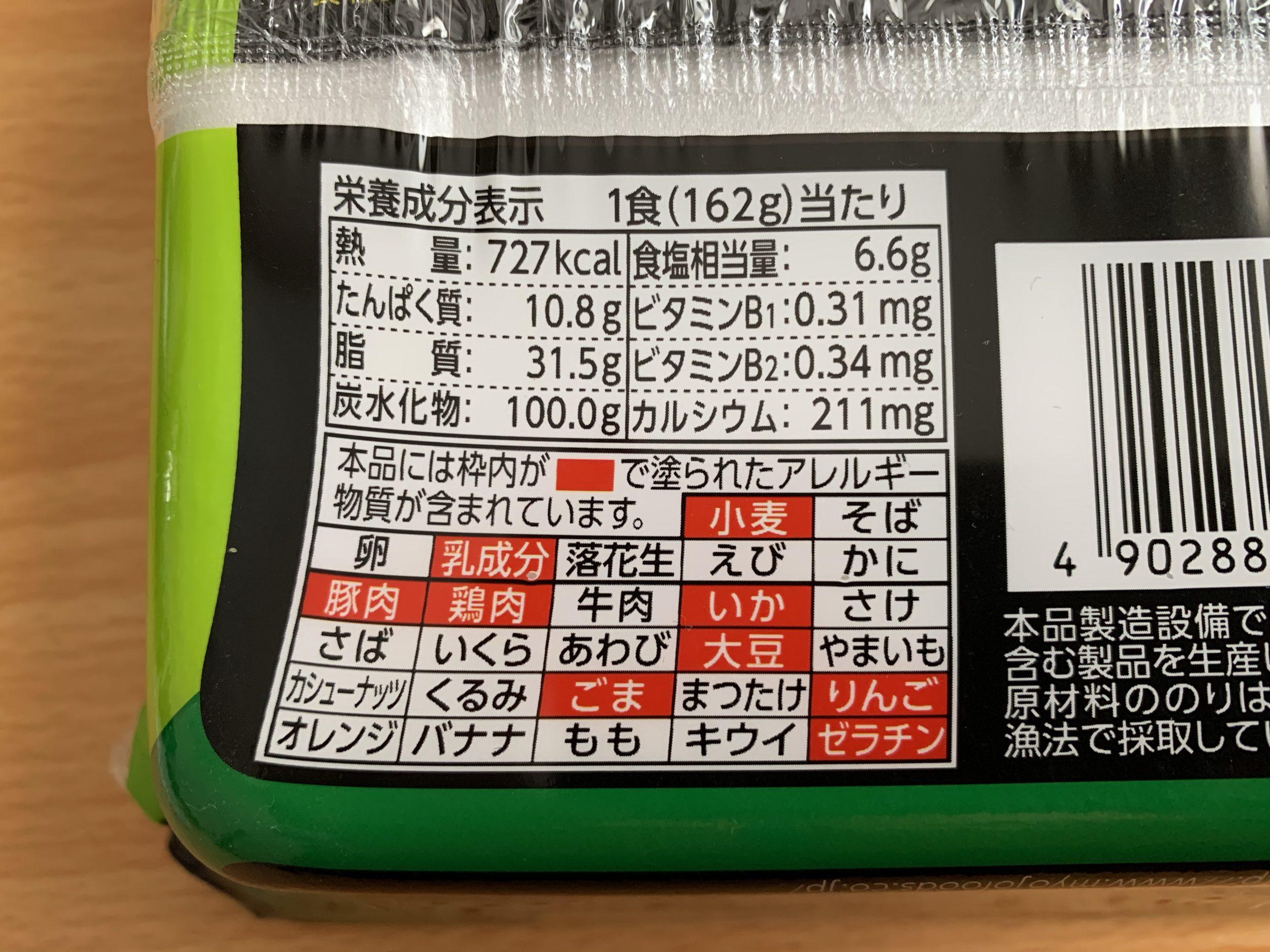 久留米大砲ラーメンネギとんこつ味まぜそばの栄養成分