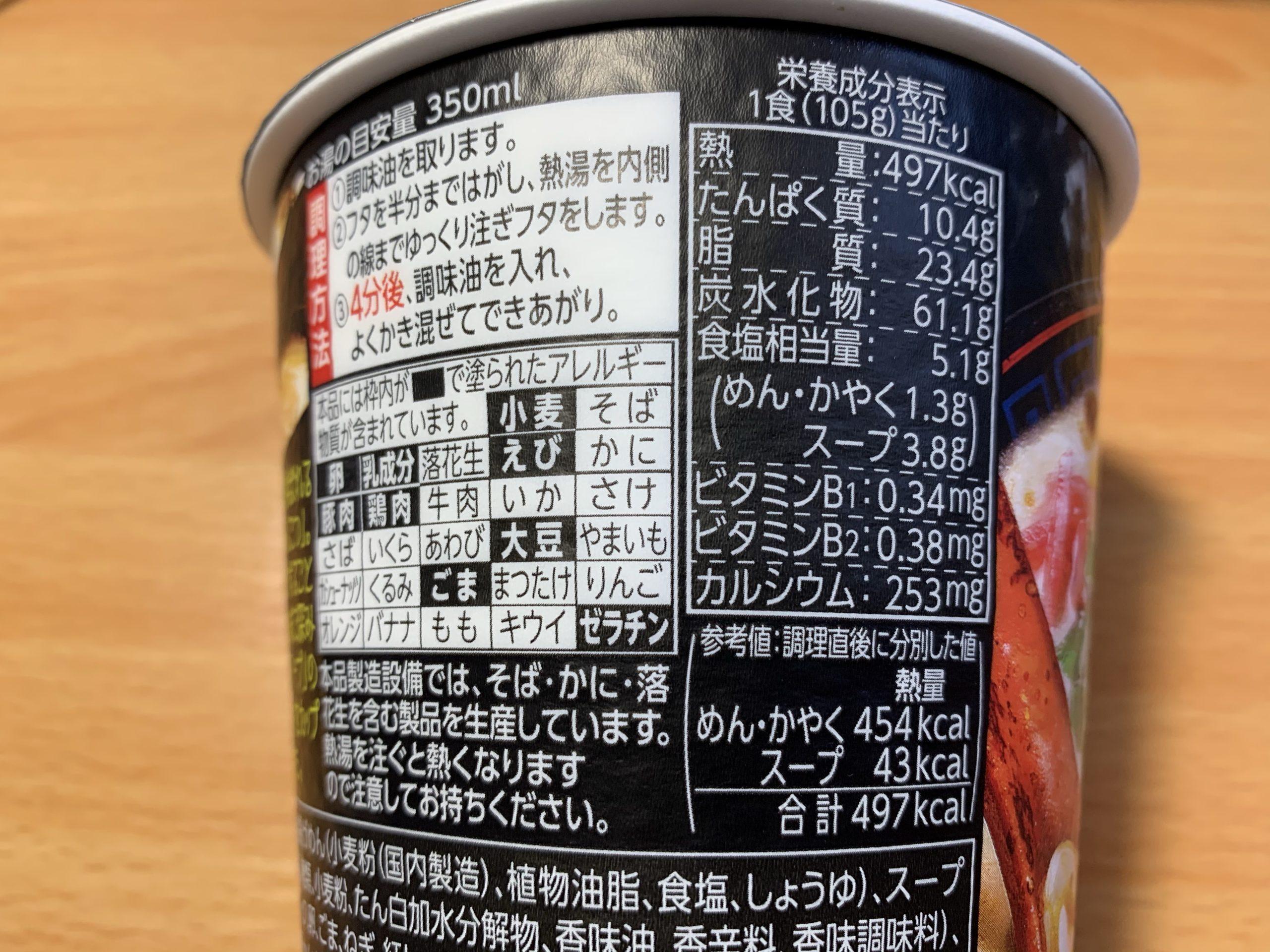 久留米大砲ラーメン黒とんこつの栄養成分